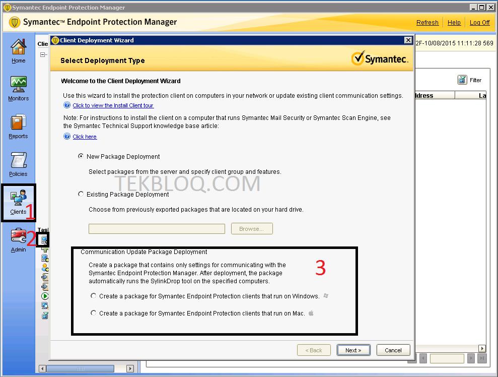 удаление symantec endpoint protection client из оснастки