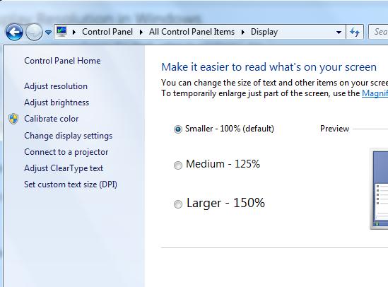 how to change program resolution windows