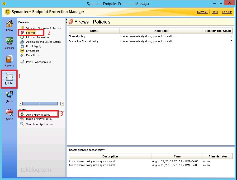 Creating a firewall policy on Symantec Endpoint Protection 12.1.6 ...