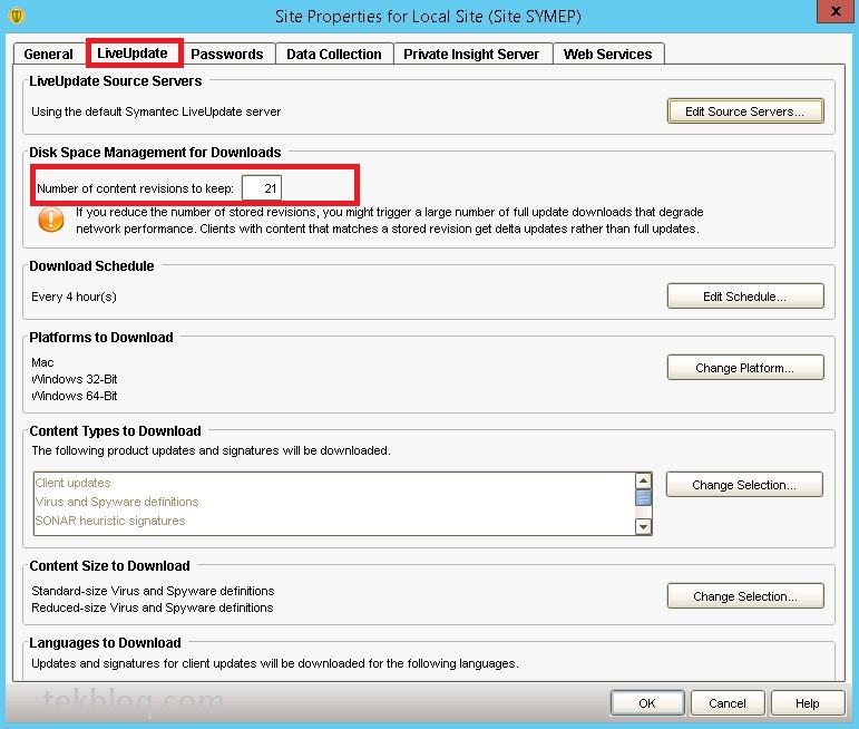 Symantec endpoint protection not updating virus definitions on client