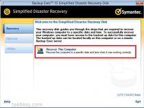 Recover computer using Simplified Disaster Recovery (SDR) disk on Symantec Backup Exec 15