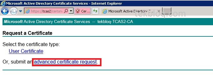 Create certificate for exchange 2010 servers using windows ca paste copied content and select web server under certificate template then click submit yelopaper Choice Image