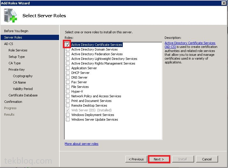 How To Install Active Directory Certificate Services Tekbloq