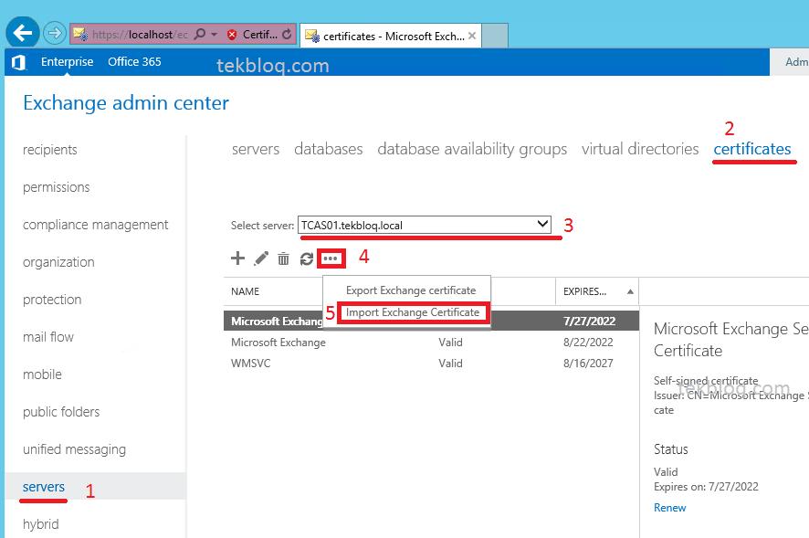 Configure Exchange Server 2013 Certificate Tekbloq